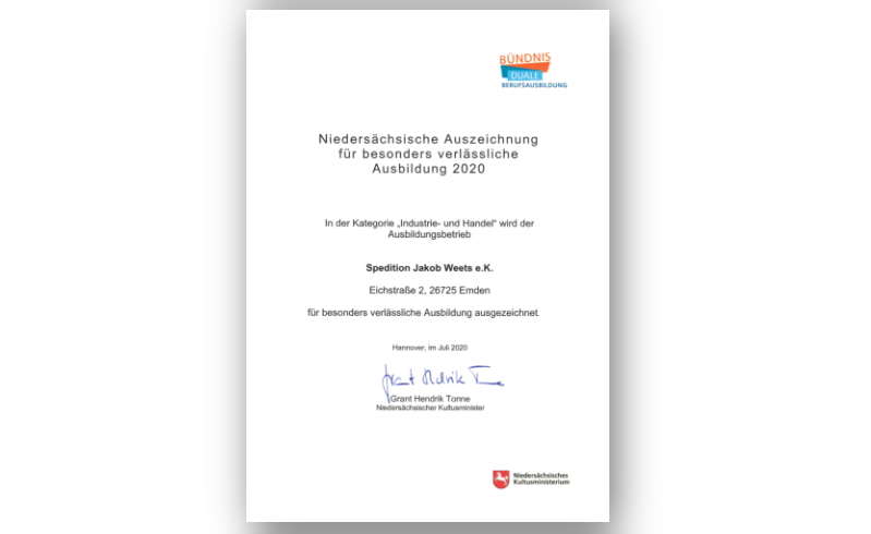 Kultusministerium_Auszeichnung-bearbeitet (002).jpg – Spedition Jakob Weets e.K.